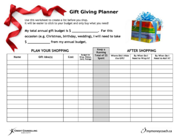 Gift giving planner for budgeting, shopping and avoiding over spending!