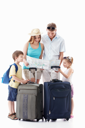 A family heading off onto a summer vacation.