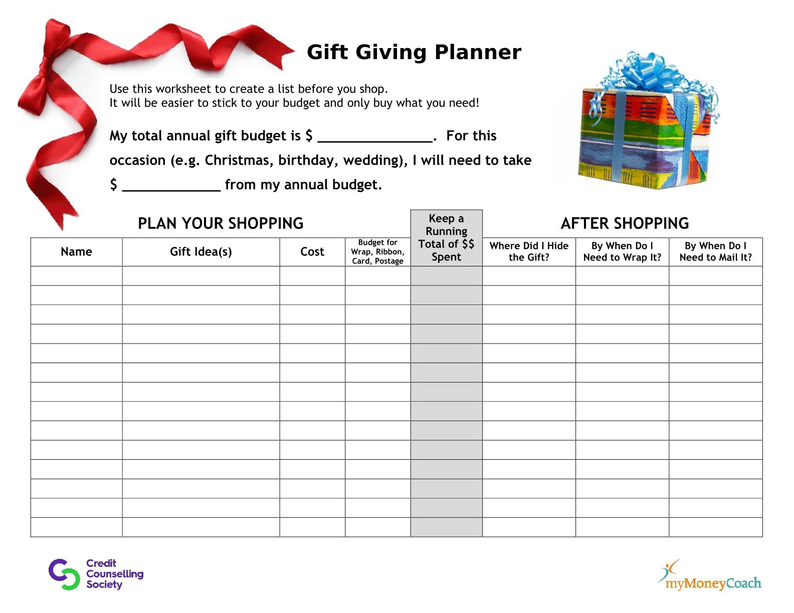 Gift giving planner for budgeting, shopping and avoiding over spending!