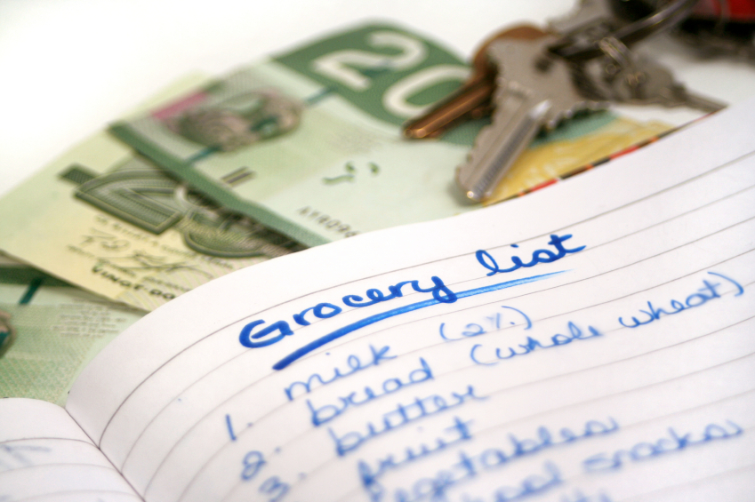 Shop for groceries with a list to help you stick to your budget