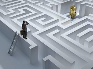 A money maze where someone is trying to solve their financial problem.