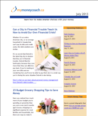 MyMoneyCoach.ca monthly newsletter