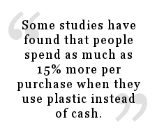 Quote about how people spend more money when they use credit cards rather than cash.