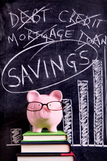 A piggy bank choosing saving money over paying down debt.