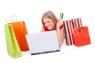 A woman cross-border shopping online.