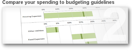 Compare your spending to budgeting guidelines.