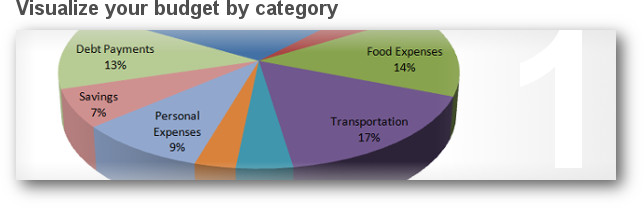 Pie chart shows your budget in a nice user-friendly graph.