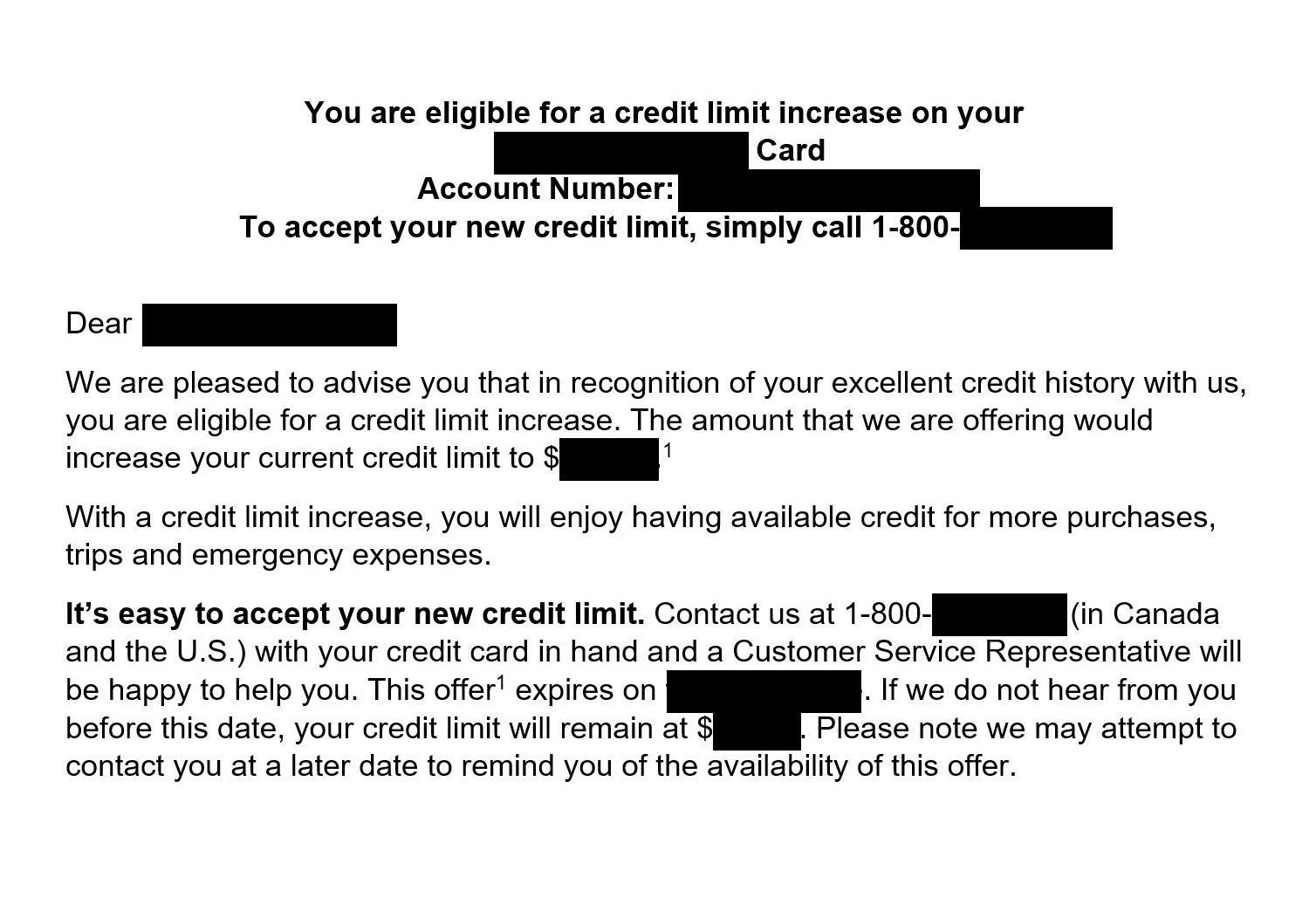 Asking questions about limit increase and balance transfer letter on credit card account.