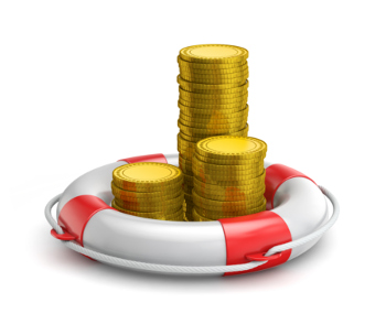 A life saving ring and coins representing emergency savings.