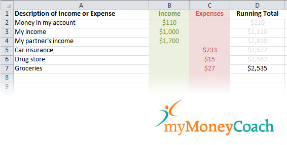Our income and expense running total Excel worksheet tool.