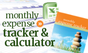 Monthly expense tracker and worksheet calculator for personal budgeting.