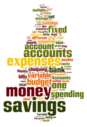 Word cloud for fixed, savings, and variable personal budgeting expenses.